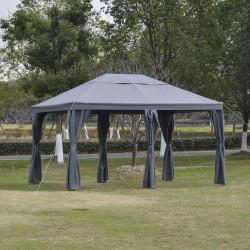 Outsunny Tenda Gazebo 4x3 m com 6 Cortinas com Zíper Abertura de teto 8 orifícios de drenagem para festas ao ar livre cinza