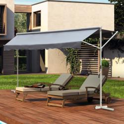 Outsunny Toldo de pé 300x300x250 cm com manivela ângulo ajustável portátil para jardim terraço pátio cinza