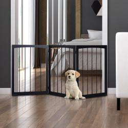 PawHut Barreira de Segurança Dobrável de 3 Painéis Portátil para Animais de Estimação 160x76 cm para Portas Escadas Corredores Castanho
