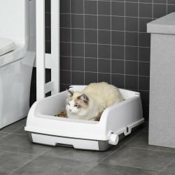 PawHut Caixa de Areia para Gatos Caixa de Areia Aberta Semi-Automática com Botão Ancinho Bandeja Removível e Borda Alta 62x46,5x19,5cm Branco