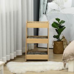 PawHut Cama para Gatos de 3 Níveis com Almofadas Removíveis e várias Entradas Móveis de atividades para gatos 50x43x74 cm Cor de madeira natural