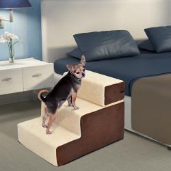 PawHut Escada de 3 degraus para animais de estimação Cães Gatos destacável e capa removível portátil Carga 5 kg 54x40x39 cm Marrom e bege