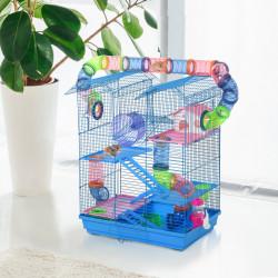 PawHut Gaiola de hamster multinível com plataformas domésticas 47x30x59 cm Azul