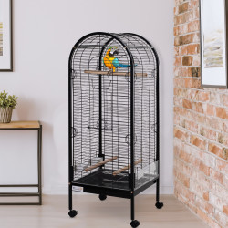 PawHut Gaiola metálica espaçosa para papagaios-canários Cotorra Papagayo com 4 rodas 54x54x151 21kg