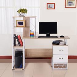 Secretária para Computador Escritório Gabinete Prateleiras 133x55x123 CM Natural