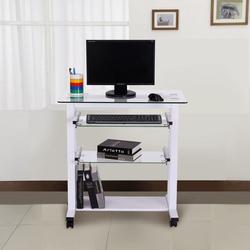 Secretária para Computador PC Escritório Gabinete Secretária com Prateleiras de Vidro – branco– 80 x 51 x 83 cm