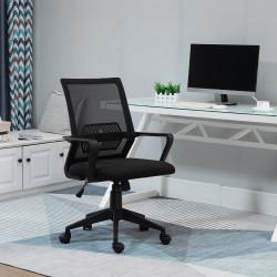 Vinsetto Cadeira de escritório ergonômica giratória ajustável em altura com apoio de braços e apoio lombar Tecido respirável 61x58.5x89-99 cm Preto