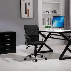 Vinsetto Cadeira de escritório ergonômica giratória com assento ajustável em altura, apoios de braço e rodas 57x57x93-103 cm Preto