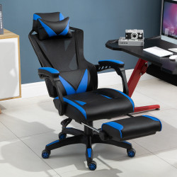 Vinsetto Cadeira de escritorio gaming ergonômica Altura ajustável Encosto ajustável Azul
