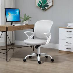 Vinsetto Cadeira de Oficina Ergonômica Basculante com Altura Ajustável Assento Giratório 360° Suporte Lombar e Malha Transpirável 61x61x89-99cm Cinza e Branco