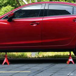 DURHAND Jogo de 2 Macacos Estabilizadores de Aço Capacidade 3 Toneladas/Par com Altura Ajustável para Apoiar Carros Veículos 21x19x29-43cm Vermelho Preto