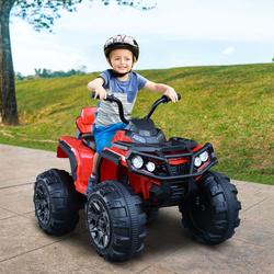 HomCom® Motoquatro Elétrica Infantil de Bateria 12V com MP3 Rádio Luzes Sons 103x68x73 cm Carga 30 kg