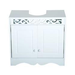 HomCom Armário de Casa de Banho por Baixo do Lavatório com 2 Portas e Prateleiras - Branco - 60x30x56cm