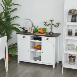HOMCOM Armário de cozinha de madeira 2 gavetas e 3 prateleiras amplo espaço de armazenamento 115x48x87cm branco e marrom