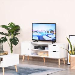 HOMCOM Armário de TV Grande armazenamento com armário prateleiras e gavetas abertas Carga 30 kg 120x28x44 cm Branco