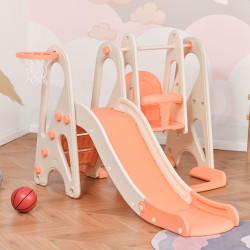 HOMCOM Baloiço e Escorrega para Crianças acima de 18 Meses Cesta de Basquetebol 3 em 1 com Assento Ajustável Parque Infantil Interior e Exterior 158x117x97cm Coral