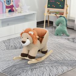 HOMCOM Baloiço Infantil em Forma de Leão de Pelúcia para Bebés 18-39 Meses com Som Cinto de Segurança Guidão Apoio para os Pés 68x35x50cm Marrom