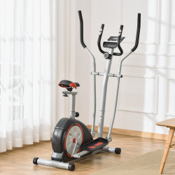 HOMCOM Bicicleta Elíptica Fitness com Volante de Inércia 6kg Resistência Magnética Ajustável Assento Regulável Tela LCD Frequência Cardiaca 130x68x162cm Preto e Prata