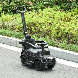 HOMCOM Carro de Passeio Carro Andador para Crianças acima de 12 Meses Mercedes G350 com Buzina Capô Removível Encosto e Suporte de Proteção 85,5x40,5x95cm Preto