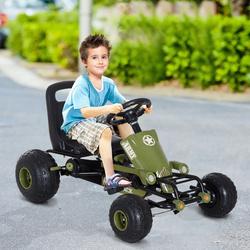 HOMCOM Carro de Pedais Desportivo com Assento Ajustável Embraiagem e Travão para Crianças acima de 3 Anos Carga 35kg 99x65x56cm Quadro de Aço Preto e Verde