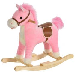 HOMCOM Cavalo de balanço para crianças acima de 36 meses Com boca e cauda móveis Música 65x32,5x61 cm Rosa