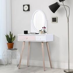 HOMCOM Cômoda com Espelho com 2 Gavetas 69x49x136 cm Branco e Rosa