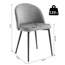 HOMCOM Conjunto de 2 cadeiras de jantar modernas estofadas 49x50 x 77cm Cinza