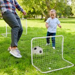 HOMCOM Conjunto de 2 mini gols de futebol com rede Tetrolon para a prática de futebol 78x46x 56cm Branco