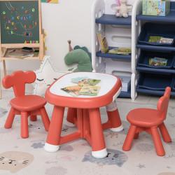 HOMCOM Conjunto de Mesa Infantil e 2 Cadeiras com Quadro Branco Multifuncional para Crianças acima de 12 Meses 64,4x52x45,6 cm Vermelho Coral