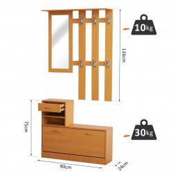 HOMCOM Conjunto de Móveis de Entrada corredor Conjunto de 3 peças Cabide Espelho Zapatero com Gaveta 90x22x116cm Madeira