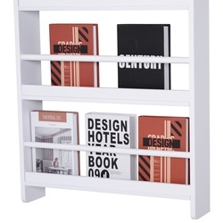 HOMCOM Estantes de parede com 4 prateleiras Estante infantil para escritório em casa Carga 30 kg 25 livros Resistente à água 59x12x113cm Branco