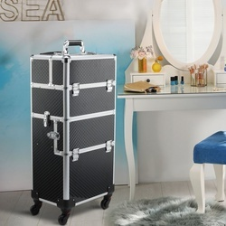 HOMCOM Estojo de maquiagem profissional Estojo cosmético destacável com rodas omnidirecionais com trava Fácil de transportar 36x24x79/107cm