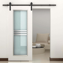 HOMCOM Kit de acessórios para porta de celeiro deslizante Porta de montagem Conjunto de peças de metal Trilhos de rolo de aço carbono