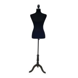 HomCom Manequim Feminino de Costura Busto de Senhora para Modistas Exibição Negro Altura Ajustável a 130-168cm