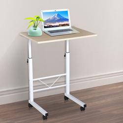 HOMCOM Mesa de computador para Hogar escritorio Altura Ajustável Mesa Compacta com Rodas 60x40x68-78cm Cor Branco
