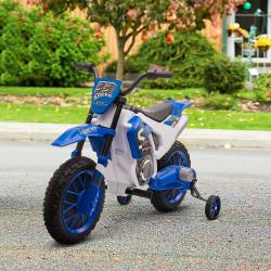 HOMCOM Mota Elétrica para Crianças acima de 3 Anos 12V Mota de Brinquedo Infantil com 2 Rodas de Equilíbrio Velocidade Máx. 8km/h Arranque Suave 106,5x51,5x68cm Azul