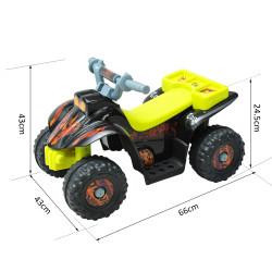 HOMCOM Moto-quatro com Bateria 6 V 2,5 km/h com 4 Rodinhas para Crianças de 1,5 Anos Máx. 20 kg - Preta e Amarela - 65 x 43 x 43 cm