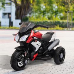 HOMCOM Motocicleta Elétrica Infantil com 3 Rodas Triciclo para Crianças acima de 3 anos com Bateria 6V Recarregável Funções de Música Buzina Faróis 86x42x52cm Preto e Vermelho