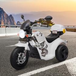 HOMCOM Motocicleta Elétrica Infantil para crianças acima de 3 anos com 3 rodas Buzina Música Faróis 87x46x54 Branco