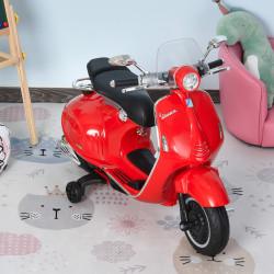 HOMCOM Motocicleta VESPA Elétrica acima de 3 Anos com Faróis Música 2 Rodas Auxiliares 108x49x75 cm Vermelho