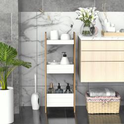 HOMCOM Móvel Auxiliar de banheiro com 3 Prateleiras Organizadoras de Bambu 27,5x20,8x74 cm Cor Branco e Natural