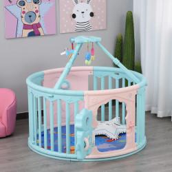 HOMCOM Parque infantil redondo para bebês Berço com Tapete Altura 65,5 cm rosa e azul