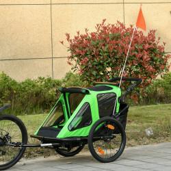 HOMCOM Reboque de Bicicleta para Crianças acima de 18 Meses 2 em 1 Carrinho de Passeio de 2 Lugares com Guidão de Altura Ajustável Barra Bandeira e Refletores 160x83x96cm Verde e Preto