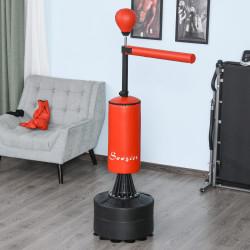 HOMCOM Saco de perfuração em pé com barra giratória e Bola de punção 360 ° para adultos e crianças 88x48x155-205 cm Preto e vermelho