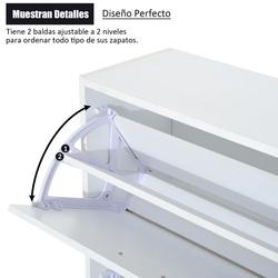 HOMCOM Sapateira de Madeira Armário, Sapateira 2 Portas com dobradiças para Entrada, Corredor, Quarto, Sala de Estar 60x24x80 cm Branco