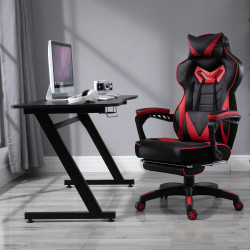 HOMCOM Secretária tipo gaming mesa de escritório com suporte para copos gancho e pés ajustáveis 120x65x74,5 cm preto