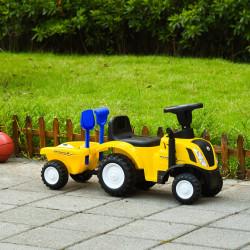 HOMCOM Trator para Crianças de 12-36 Meses com Reboque Removível Carro Andador com Buzina Farol Pá e Ancinho Carga 25kg 91x29x44cm Amarelo
