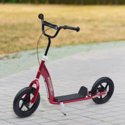 HOMCOM Trotinete para Crianças acima de 5 anos Scooter de 2 Rodas Grandes de 12 Polegadas com Freio e Guidão Ajustável em Altura Carga Máx. 100kg 120x52x80-88cm Vermelho