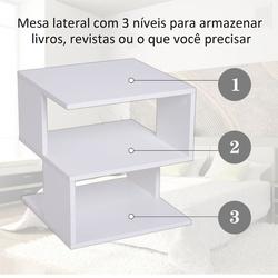 Mesa de cabeceira Mesa de café Mesa de Café auxiliar 2 Níveis 40x40x43 cm Branco