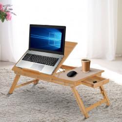 Mesa de computador Bambu Portátil Café da manhã bandeja café da manhã Dobrável Reclinado Altura ajustável Suporte Mesa de volta 1 Gaveta 55x35x22-30cm
